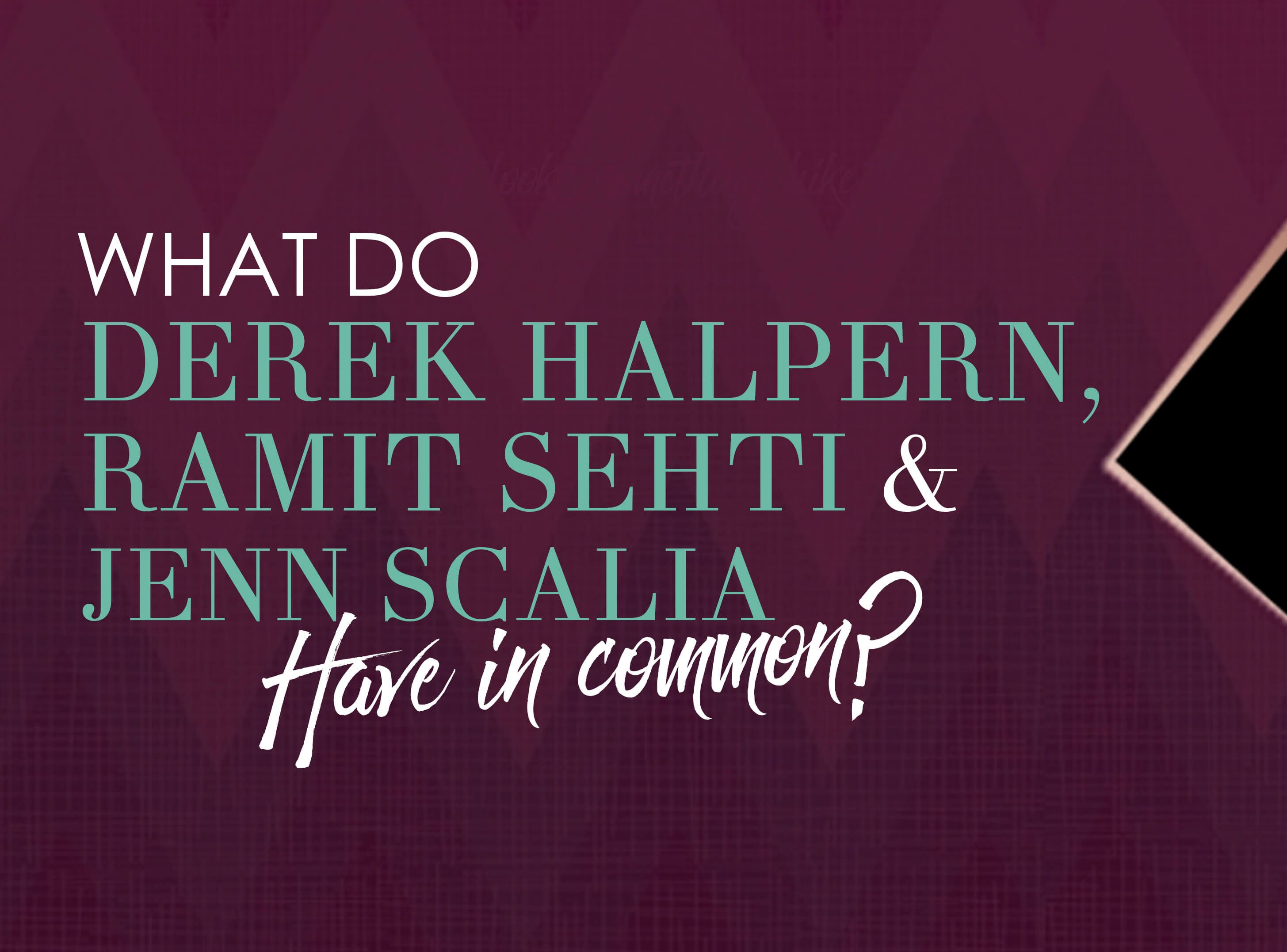 What do Derek Halpern, Ramit Sehti and Jenn Scalia have in common?