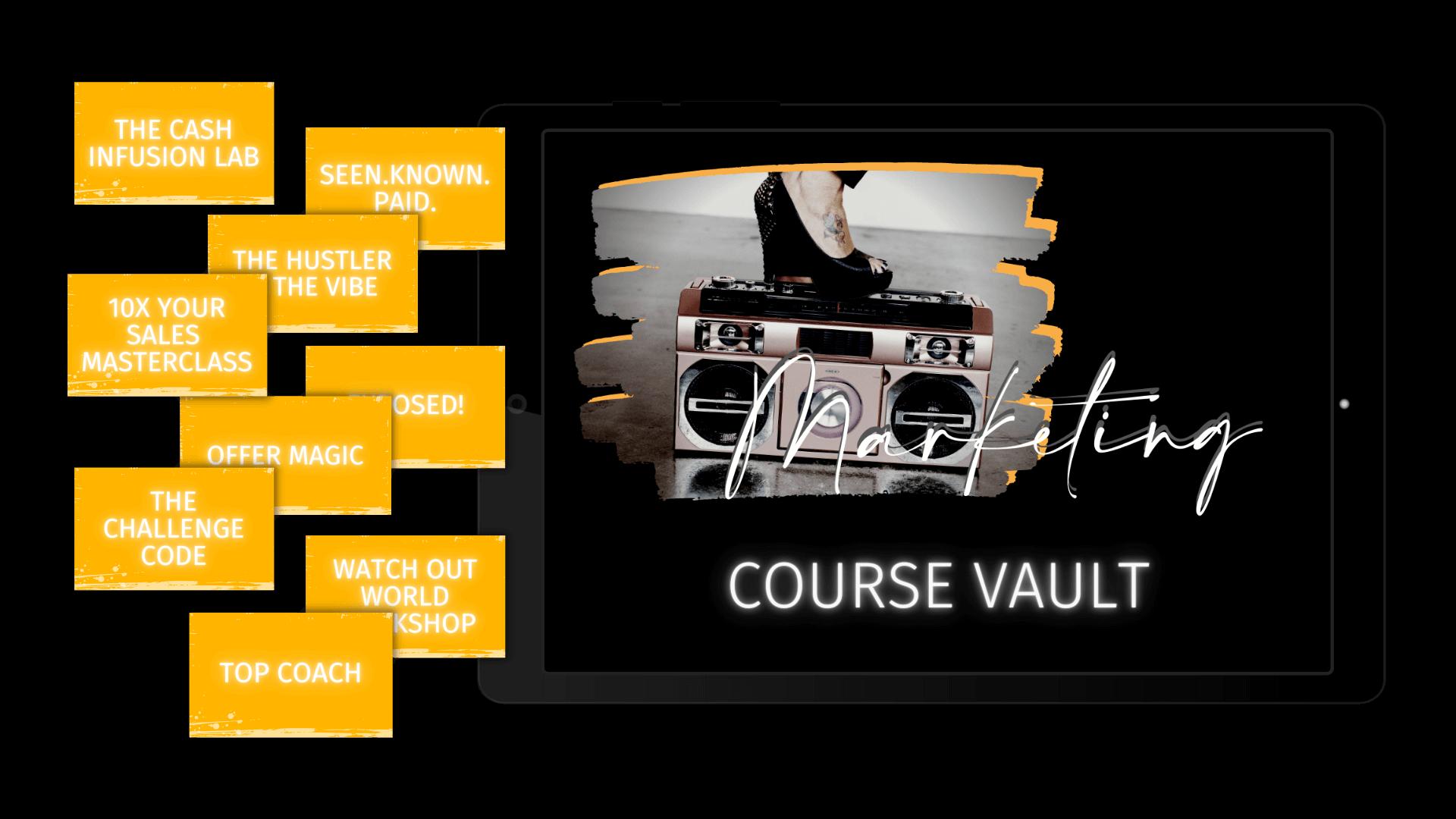 The Ultimate Marketing Course Vault for online entrepreneurs
